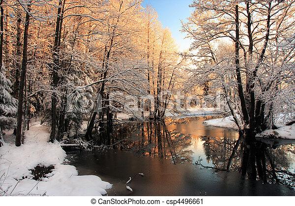 lys, flod, vinter, solopgang - csp4496661