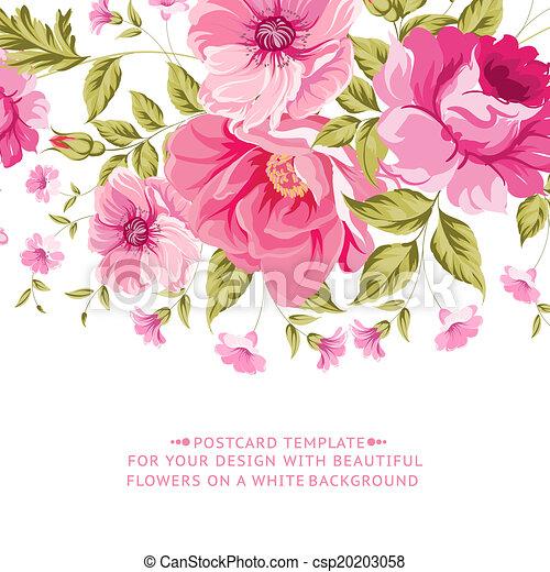 lyserød blomstr, tekst, dekoration, label., udsmykket - csp20203058