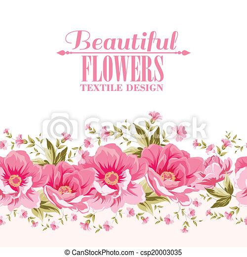 lyserød blomstr, tekst, dekoration, label., udsmykket - csp20003035