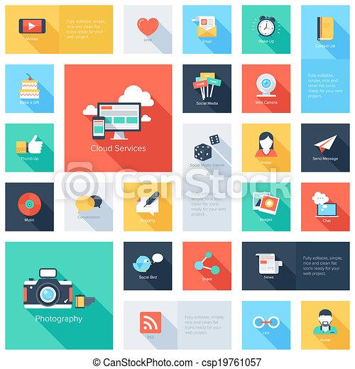 medier, icons., sociale - csp19761057