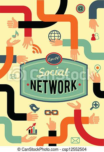 medier, netværk, vinhøst, kommunikation, firmanavnet, sociale - csp12552504