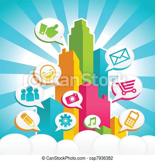 medier, sociale, farverig, byen - csp7936382