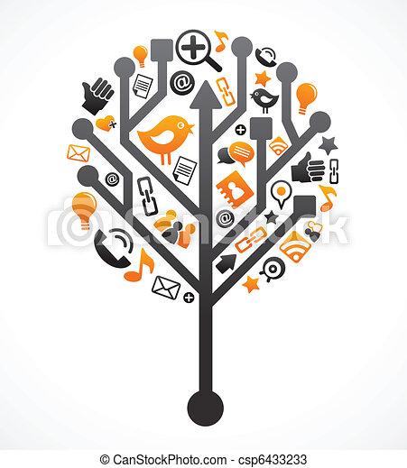 medier, sociale, træ, netværk, iconerne - csp6433233