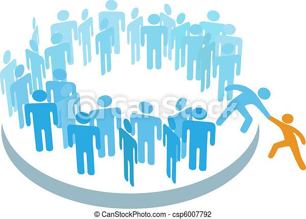 medlem, gruppe, hjælp, folk, store, nye, sammenvokse - csp6007792