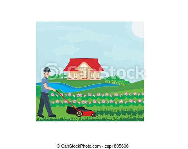 meje, illustration, mand, vektor, plæne - csp18056061