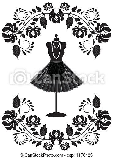 mode, ramme, halskæde, mannequin, blomstrede, skørt, card - csp11178425