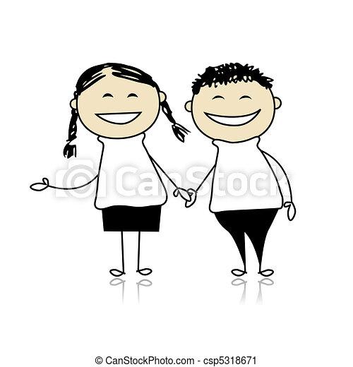 morsom, dreng, par, -, illustration, konstruktion, le, sammen, pige, din - csp5318671