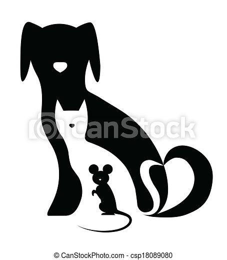 morsom, komposition, mus, hund, kat - csp18089080