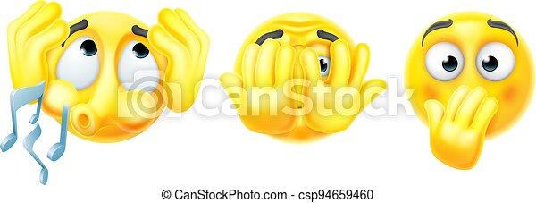 nej, afhøre, tal, onde, se, emoticon, cartoon, emojis - csp94659460