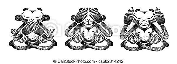 nej, tal, ears., tre, vektor, illustration., se, monkeys., øjne, aflukket, abe, håndlavet, dets, hvid, mund, onde, evil., sort, afhøre - csp82314242