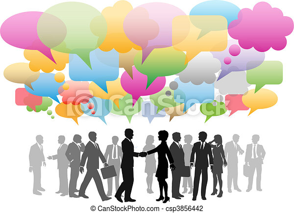 netværk, firma, medier, selskab, tale, sociale, bobler - csp3856442
