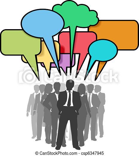 netværk, folk branche, bobler, farverig, samtalen - csp6347945