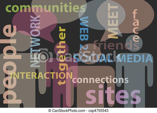 netværk, folk, medier, kommunikation, tale, sociale - csp4755543