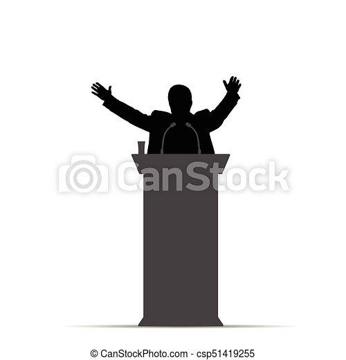 orator, mand, silhuet, illustration, tal - csp51419255