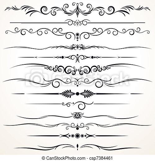ornamental, forskellige, linjer, regel, konstruktion - csp7384461