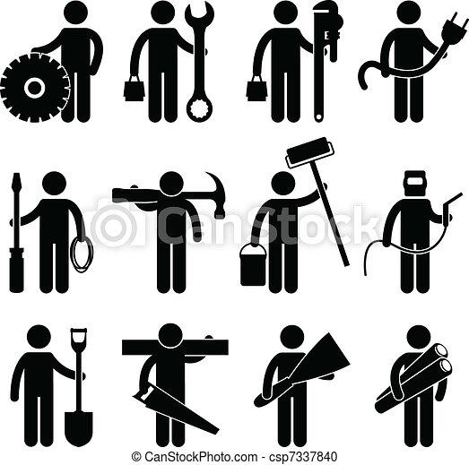 pictog, arbejde, konstruktion arbejder, ikon - csp7337840