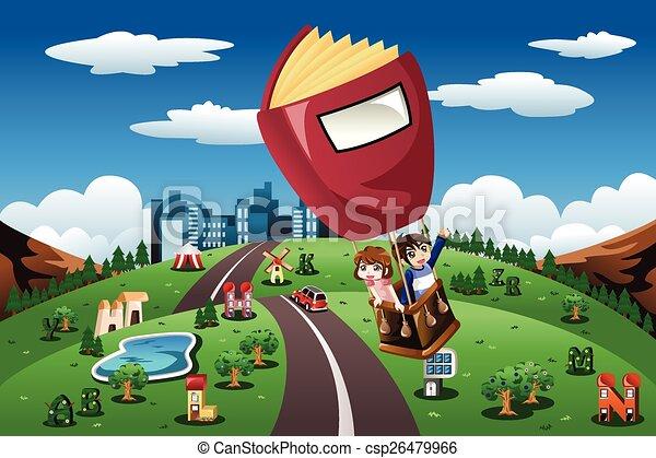 ride, balloon, børn, hed luft - csp26479966