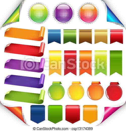 sæt, bånd, farverig, etikette - csp13174389