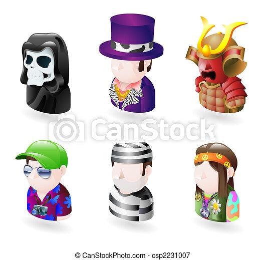 sæt, folk, avatar, ikon, internet - csp2231007