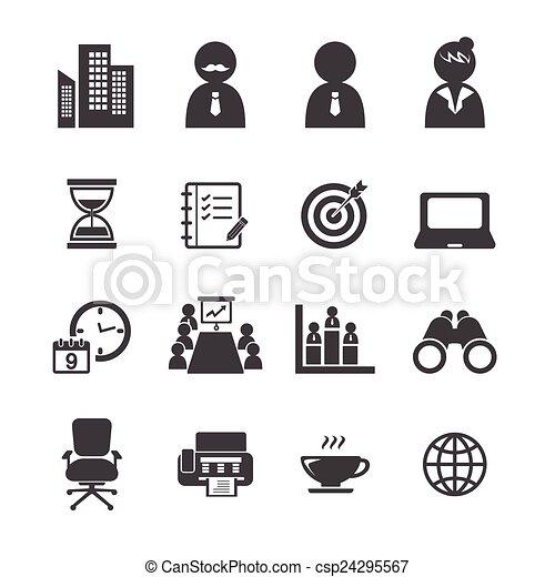 sæt, kontor, ikon - csp24295567
