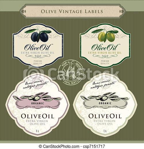 sæt, olie, oliven, etiketter - csp7151717