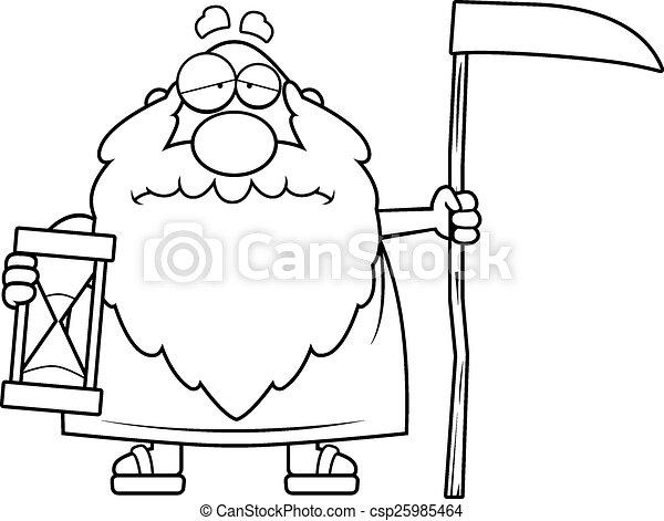 sørgelige, far, cartoon, tid - csp25985464