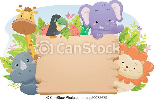 safari, dyr, tegn - csp20072679