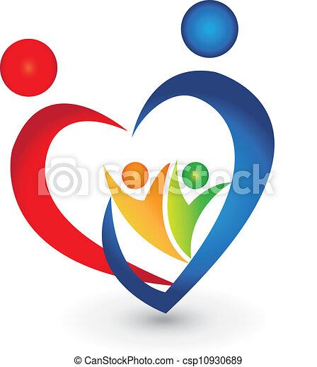 sammenslutning, hjerte form, familie, logo - csp10930689