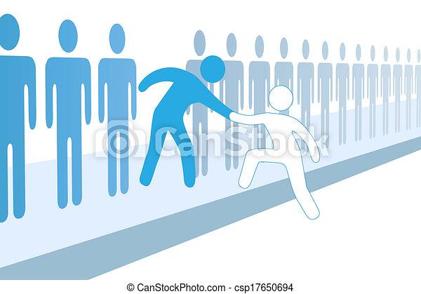 sammenvokse, hjælp, folk, oppe, medlem, hold, nye - csp17650694