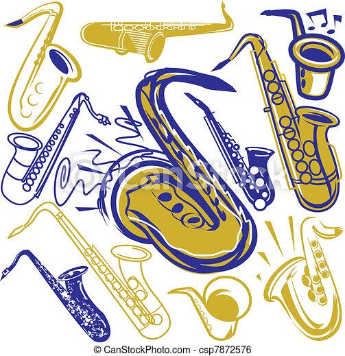 saxofon, samling - csp7872576