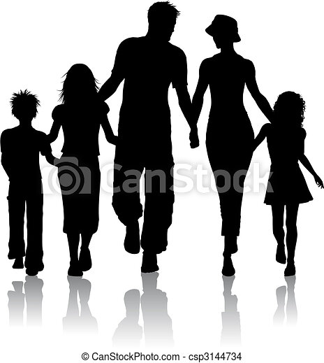 silhuet, familie - csp3144734