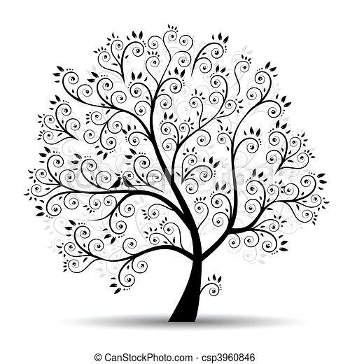 silhuet, kunst, træ, smukke, sort - csp3960846