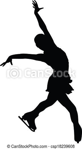 silhuet, kvindelig figur, skøjteløber - csp18239608