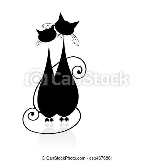 silhuet, siddende, par, katte, sort, sammen, konstruktion, din - csp4676861