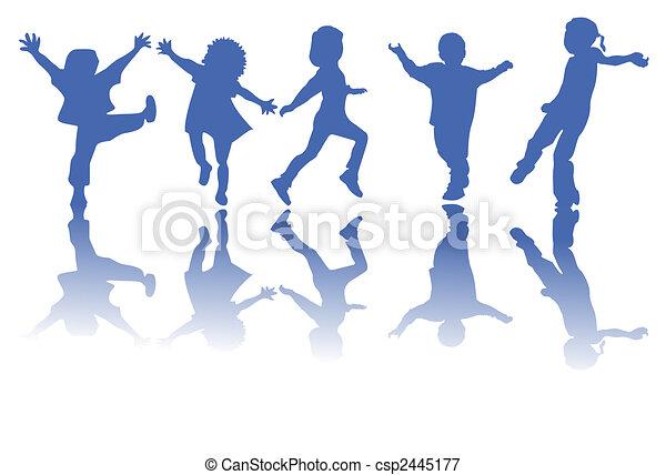 silhuetter, børn, glade - csp2445177