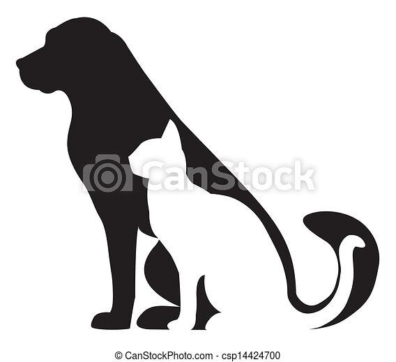 silhuetter, kat, komposition, hund - csp14424700