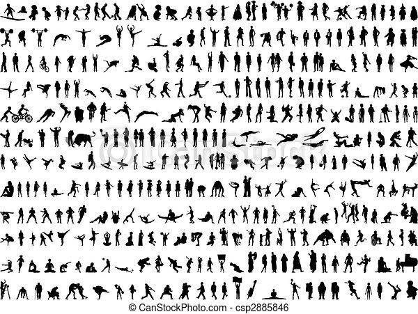 silhuetter, menneske, i hundredvis - csp2885846
