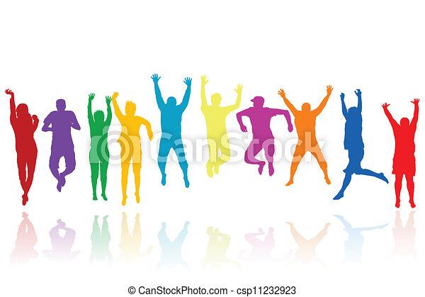 silhuetter, springe, gruppe, unge mennesker - csp11232923