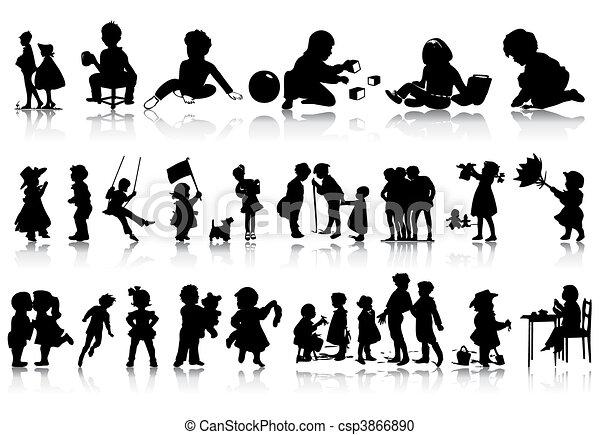 situations., illustration, silhuetter, vektor, adskillige, børn - csp3866890