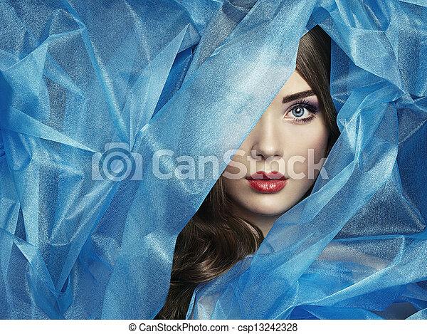 smukke, blå, mode, fotografi, under, slør, kvinder - csp13242328