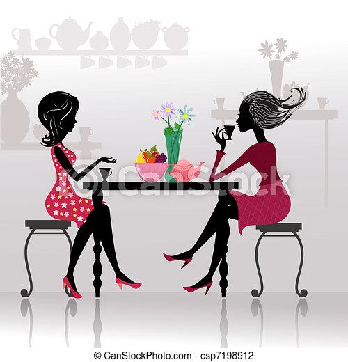 smukke piger, cafes, silhuet - csp7198912