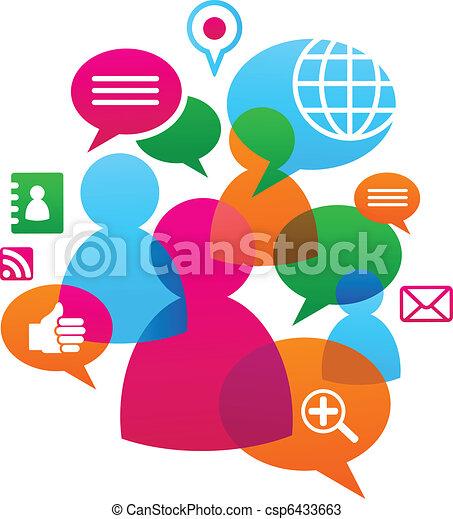 sociale, medier, backgound, netværk, iconerne - csp6433663