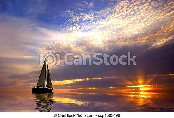 solnedgang, afsejlingen - csp1583498