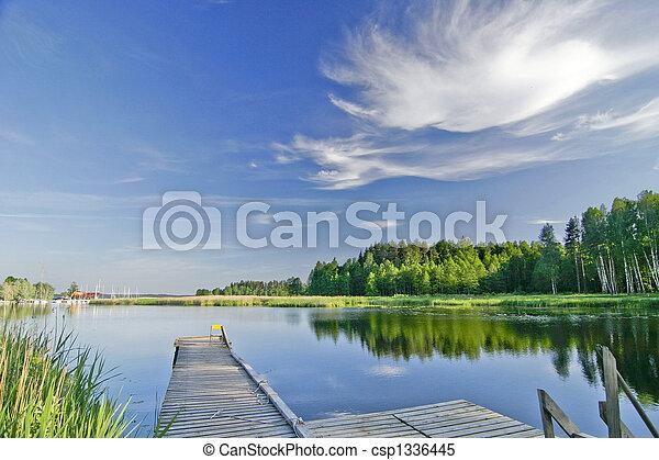 sommer, vivid, himmel, sø, i ligevægt, under - csp1336445
