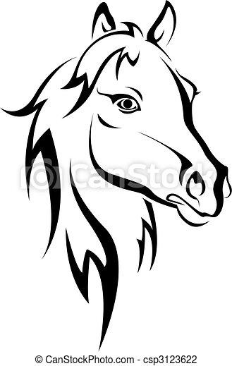 sort hest, silhuet - csp3123622