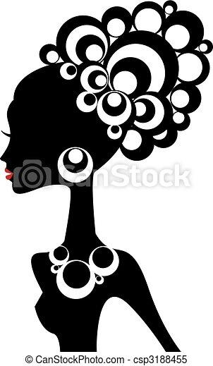 sort kvinde, vektor - csp3188455