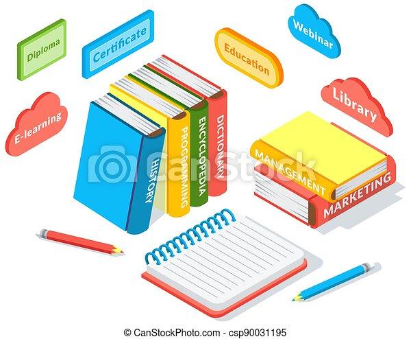 stak, knapper, undervisning, iconerne, komposition, online, isometric, notesbog, bøger, blyant - csp90031195