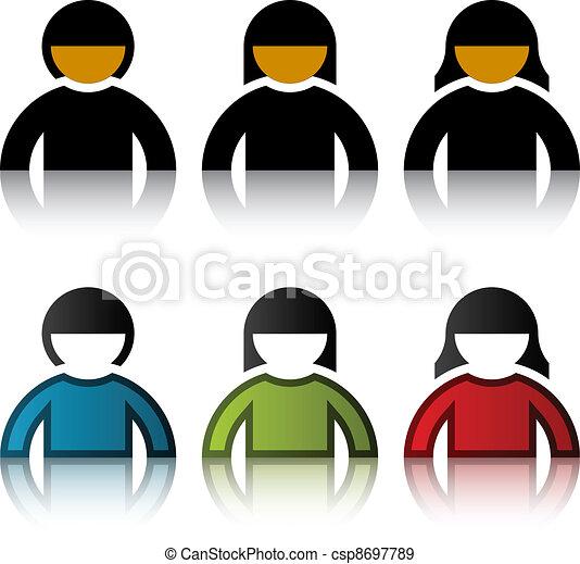 symboler, vektor, mandlig, bruger, kvindelig - csp8697789