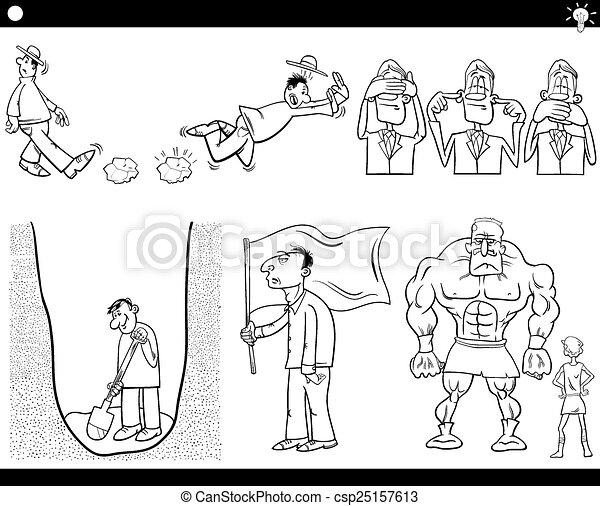 talemåder, sæt, cartoon, begreb - csp25157613