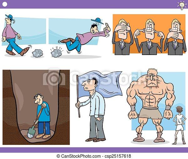 talemåder, sæt, cartoon, begreb - csp25157618